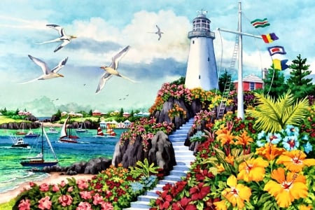 Coastal Paradise F1Cmp - art, illustration, flowers, lighthouse, scenery, gulls, wide screen, flags, beautiful, coastal, architecture, seascape, artwork, painting