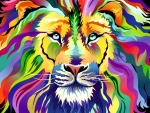 Colorful Abstract Lion F