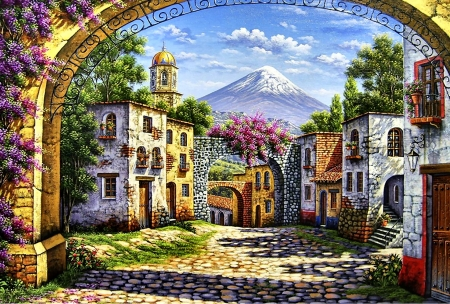 Three Arches F2Cmp - art, illustration, clouds, cityscape, scenery, sky, wide screen, beautiful, mountains, architecture, artwork, painting