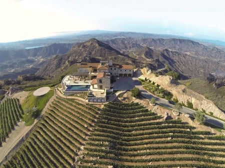 Malibu Rocky Oaks Estate Vineyard - architecture, hills, Malibu, Vineyard, Rocky Oaks, wine, farming, Estate, home, grapes, mansion, business