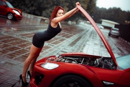 Unknown Model - redhead, car, engine, babe, rain, wet, woman, lady, model, road, auto