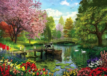 Forest Lake - pier, bridge, flowers, dog, spring, swans, boat, colors, blossoms, artwork, painting