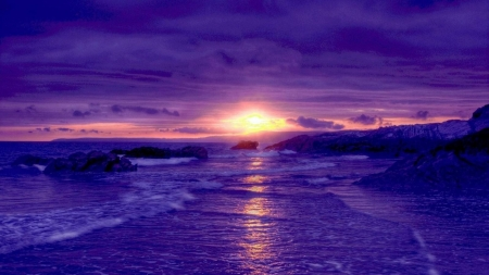 Purple Beach at Sunset - beach, sunset, clouds, purple, reflection, nature