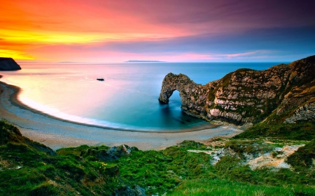 Cliff Arch By The Water At Sunset - water, beach, Nature, sand, sunset, sea, arch, cliff