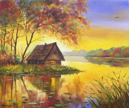 Cottage on the lake - color, colorful, barn, house, cottage, pretty, beautiful, fields, lake, nature