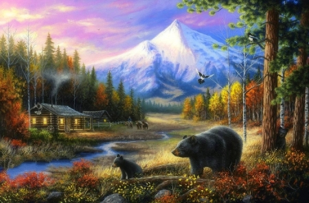 Routine Visitors - bears, paintings, attractions in dreams, landscapes, streams, cabins, animals, love four seasons, mountains, summer, nature