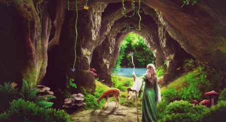 Peace of Heaven - deer, girl, green, peace of heaven, fantasy