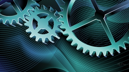 GEARS - sprockets, mechanical, blue, Firefox Persona theme, gear