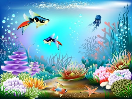 Underwater World - water, fish, plants, ocean, bubbles, coral, starfish, sea