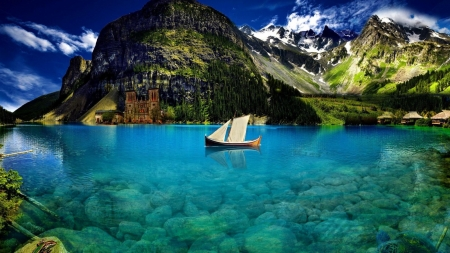 Crystal Blue Lake - underwater, boat, nature, castle, snowy, lake, mirrored, blue