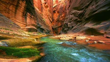 River running through canyon - Erosion, River, Rocks, Canyon