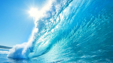 blue wave - water, summer, nature, blue, wave