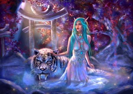 Moonwell - elf, love four seasons, tiger, digital art, fantasy, paintings, water, weird things people wear, drawings