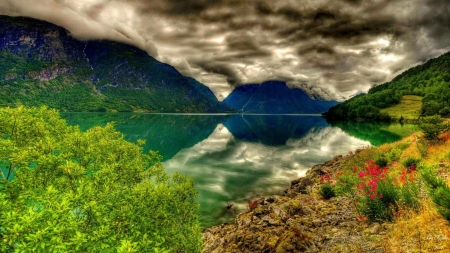 Clear Lake Mountain - greenery, trees, clouds, lake, mountains, peaks, flowers, nature, reflection, lakeshore