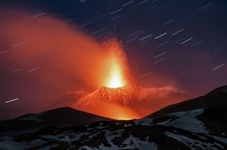 Mt. Etna Lava Plume - mountain, cool, nature, fun, volcano, forces of nature