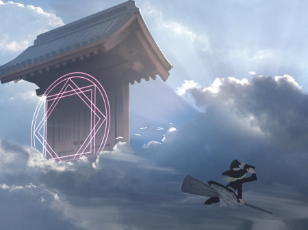 Sealed Gate - witch, gate, torii, japanese, cg, game, sky, clouds, seal, japan, fantasy, girl
