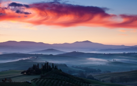 Tuscan in Summer Season,Italy - dawn, nature, clouds, sky, mists
