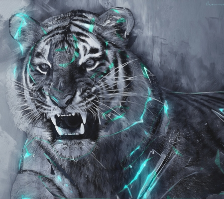 Tiger Painting - fangs, feline, tiger, wild