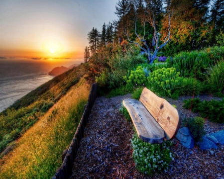 Spring Sunset - sunset, sea, bench, forest, spring, trees, nature