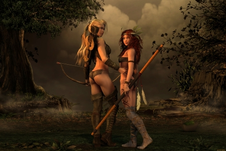 Fantasy Warriors - clouds, bows, artwork, mystic, women, arrows