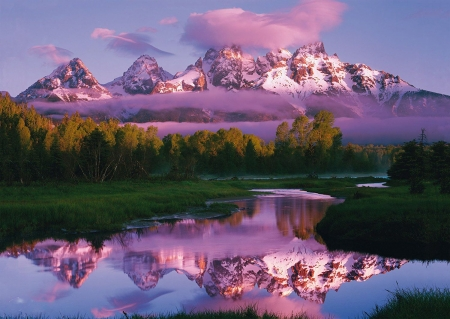 Grand Tetons - wyoming, water, river, reflections, trees, snake river, landscape