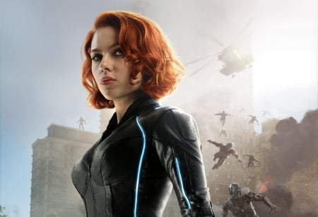Avengers: Age of Ultron (2015) - poster, movie, redhead, black, Scarlett Johansson, comics, woman, natasha romanoff, girl, actress, age of ultron, avengers