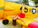 Model Posing on a WW2 Texan Training Plane