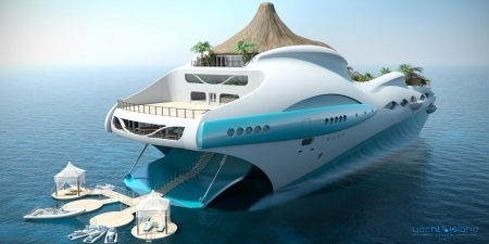 Tropical Island Luxury Yacht - fantasy, superyacht, Tropical Island, Luxury, Tropical Island Luxury Yacht, Yacht, futuristic