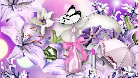 Femininity - perfume, cosmetics, pink and lavaender, ribbon, umbrella, lilies, butterflies, collage, dainty, bows, lipstick, feminine, flowers