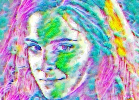 Hermione Granger - witch, colorful, yellow, woman, Emma Watson, fantasy, green, actress, texture, painting, face, pink, pictura, tch, blue, art, hermione, granger, harry potter, by cehenot, abstract, girl, portrait