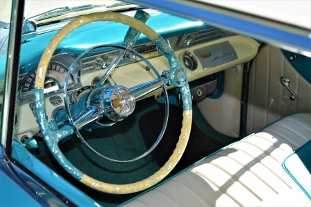 Vintage car interior - photography, vintage car, car, blue and white, steering wheel, old