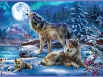 Wolves under the Full Moon