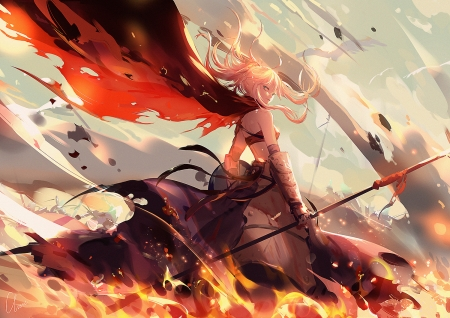 Saber - batllefield, red, pretty, dress, orange, yellow, beautiful, woman, anime, cape, beauty, anime girl, long hair, female, lovely, blonde hair, fire, flames, girl, lady