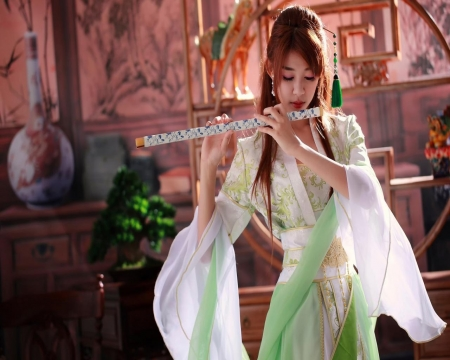 Girl on flute - girls, people, models, costume, pretty, dress, female, beautiful, Asian