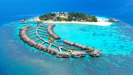 Beautiful Maldives Island - resort, maldives, beach, boat, ocean, nature, island