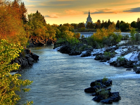 Beautiful River on City - city, nature, river, sunset, trees, landscape