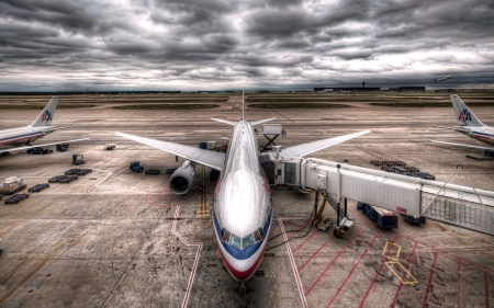 Storm Clouds - photograph, HDR, plane, airport, clouds, storm