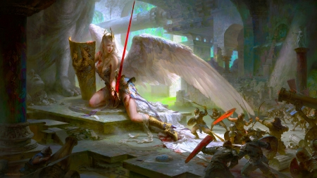 Land of the Small - pretty, art, wings, little people, lovely, angel, beautiful, woman, fantasy, warrior, girl, digital