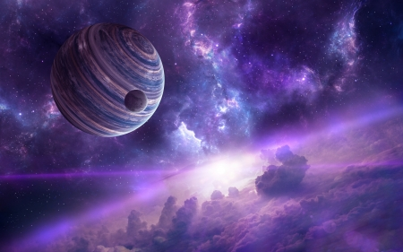Planets - luminos, space, fantasy, nebula, purple, planet, cosmos, pink, blue