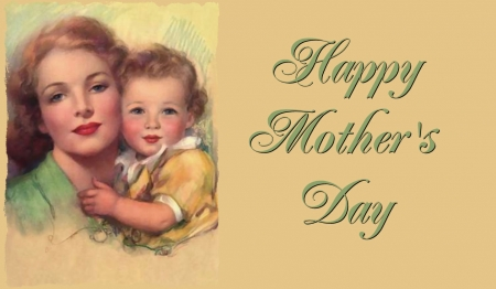 Happy Mother's Day - art, holiday, beautiful, mother, illustration, Mothers Day, artwork, May, love, painting, child, occasion