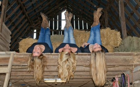 ~Cowgirls~ - loft, hayloft, bales, boots, barn, blondes, hay, cowgirls