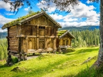 Wooden houses in mountain