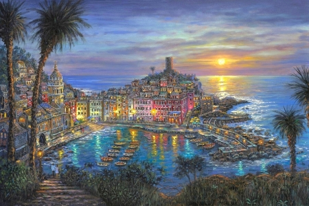 Vernazza Sunset - villages, Italy, love four seasons, attractions in dreams, sea, hotels, boats, paintings, paradise, sunsets, Vernazza, summer, nature, harbor, coast, Mediterranean