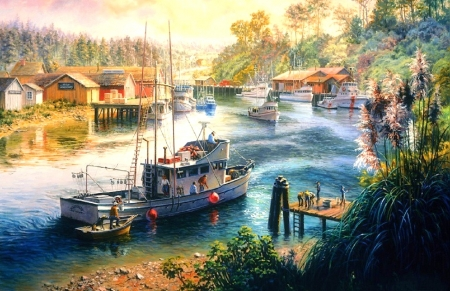 Deep Sea Readiness - sea, paintings, attractions in dreams, people, love four seasons, houses, paradise, boats, harbor, summer, nature