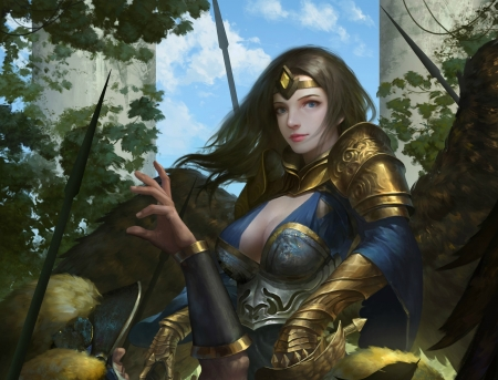 Angel - armor, fantasy, wings, luminos, girl, angel, legend of the cryptids, maoshan zhan