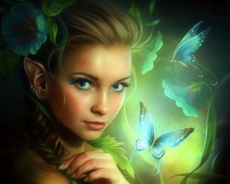 Butterfly Fairy - love four seasons, butterflies, creative pre-made, digital art, woman, fantasy, green, photomanipulation, emotional, weird things people wear, fairies, butterfly designs