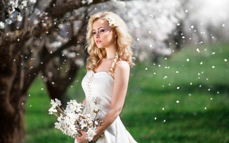 Cherry Blossoms Falling on Gorgeous Blonde - flowers, blonde, trees, model