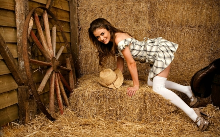 Cowgirl Jess in the Barn - dress, hat, model, brunette, cowgirl