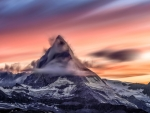 Blurry Snowy Mountain at Sunset
