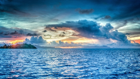 Body of Water During Dawn - island, blue, horizon, clouds, dawn, ocean, dusk, sunset, seascape, nature